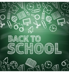 Back to school School icons on a blackboard vector