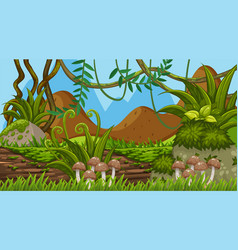 background design landscape with mushrooms on vector image