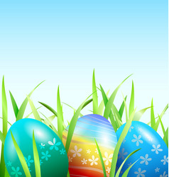 background with easter eggs in the grass vector image