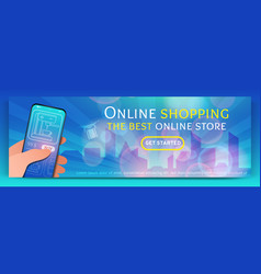 Banner template of online shopping vector