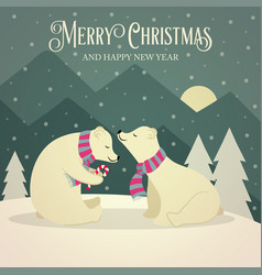 beautiful retro christmas card with polar bears vector image
