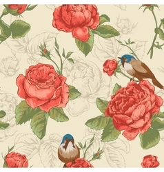 Botanical floral seamless pattern with roses and vector
