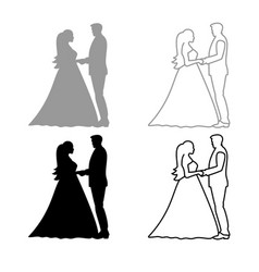bride and groom holding hands icon outline set vector image