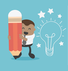 Business concept cartoon african businessman hand vector