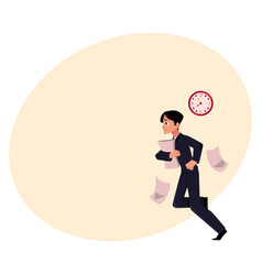 Businessman hurrying to work holding papers vector