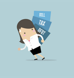 businesswoman carry pile of debt tax and bill vector image