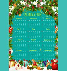 calendar template with christmas tree and gift vector image