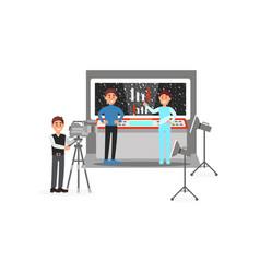 Cameraman and actors working on fantastic film vector