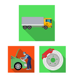 Car lift pump and other equipment flat icons in vector