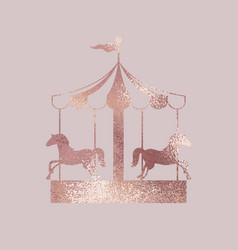 Carousel rose gold elegant vector
