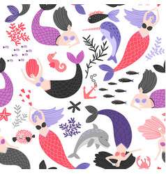 cartoon mermaids and sea animals pattern vector image
