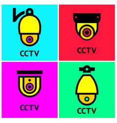cctv hr video surveillance web cameras set vector image