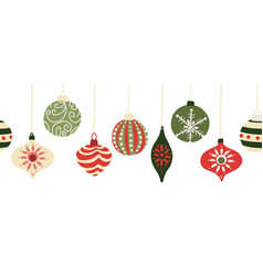 christmas baubles seamless border vector image