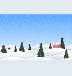 christmas winter countryside landscape with pines vector image
