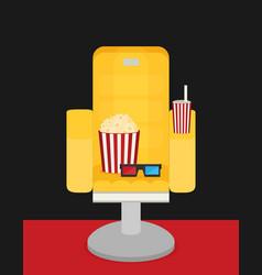 Cinema chair with popcorn soda vector