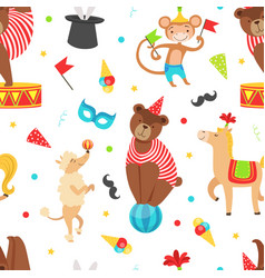 circus seamless pattern with vintage carnival vector image