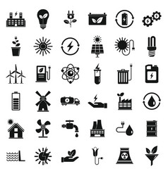clean energy icons set simple style vector image