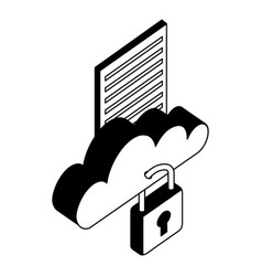 cloud computing with padlock and document vector image