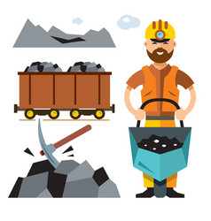 coal industry flat style colorful cartoon vector image
