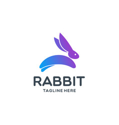 colored rabbit logo template inspiration vector image