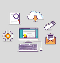 Computer technology with usb and certicate diploma vector