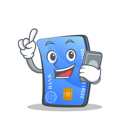 Credit card character cartoon with phone vector