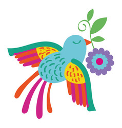 cute bird flying with flower mexican decoration vector image