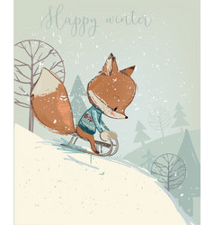 Cute fox on sleigh vector