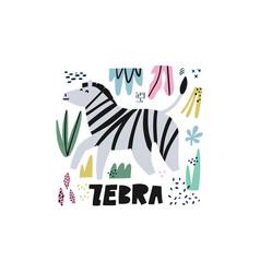 cute zebra flat hand drawn vector image