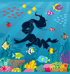 Diver girl undersea vector