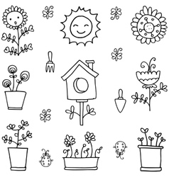 Doodle of spring item with hand draw vector