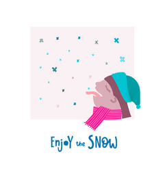 enjoy snow flake tongue winter christmas season vector image