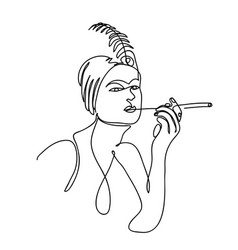 flapper girl from 20s black and white vector image