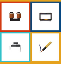 flat icon device set of repair destination coil vector image