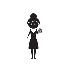 Flat icon in black and white girl with gift vector