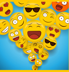 Fun smiley face cartoon icon splash background vector