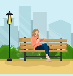 girl with the paper cup of coffee vector image