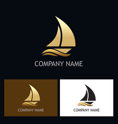 gold yacht boat logo vector image