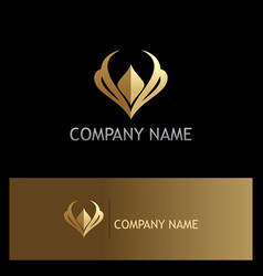 Golden luxury letter v logo vector