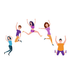 group of young people jumping with raised hands vector image