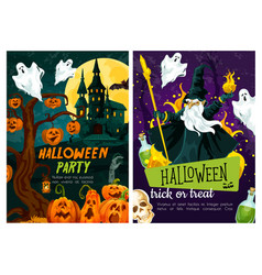 Halloween trick or treat night celebration poster vector