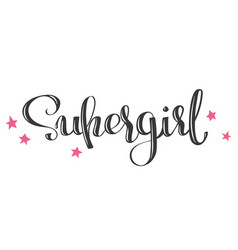 hand drawn lettering - supergirl vector image