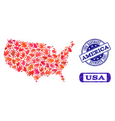 handmade collage of map of usa and distress stamps vector image