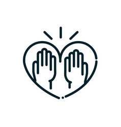 hands in heart love peace and human rights line vector image