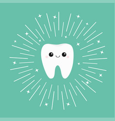 Healthy white tooth icon with smiling face vector