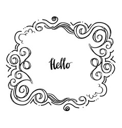 hello doodle floral frame-01 vector image