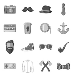 Hipster icons set in black monochrome style vector image