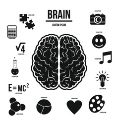 Human brain infographics set simple style vector