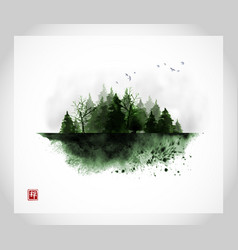 ink wash painting with misty green wild forest on vector image