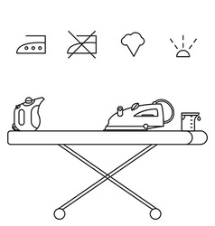 Isolated steam iron icon and beaker vector image